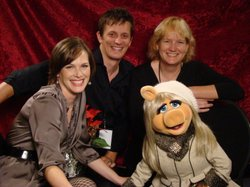KPBS On-Air Fundraising with Miss Piggy (2008).  Top:  Andy Trimlett and Maura Daly Phinney.  Bottom:  Jessica York and Miss Piggy.