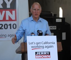 Dem. gubernatorial candidate Jerry Brown outlines his plan to create a half-million green jobs in California by 2020, at New Leaf Biofuel in Barrio Logan on August 26, 2010.