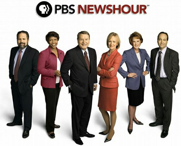 (l-r): Ray Suarez, Gwen Ifill, Jim Lehrer, Judy Woodruff, Margaret Warner and Jeffrey Brown. The daily PBS NewsHour broadcast will feature a dual anchor format, with Jim Lehrer regularly joined by senior correspondents Gwen Ifill, Judy Woodruff and Jeffrey Brown in the studio. Senior correspondents Ray Suarez and Margaret Warner will primarily focus on out of studio reporting.