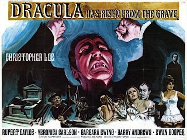 "The British poster art for ""Dracula Has Risen From the Grave"" in all its lovely luridness."