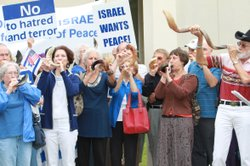 Members of the San Diego Israel Coalition blow Shofars on the eve of Rosh Hashanah to call out for a year of peace, at the Congregation Beth El in La Jolla on August 7, 2010. 