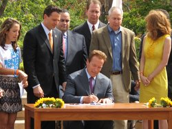 Governor Schwarzenegger signs Chelsea&#39;s Law in Balboa Park on September 9, 2010. The governor was in San Diego to sign the law which requires a life sentence without parole for forcible sex acts against a minor.