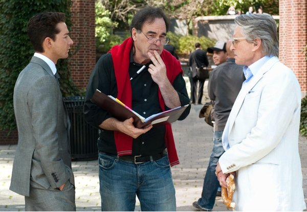"Oliver Stone ""directing"" Shia LaBeouf and Michael Douglas in ""Wall Street: Money Never Sleeps."""