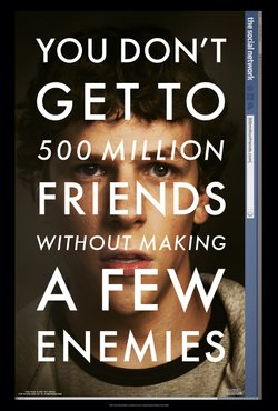 Marketing poster for the film The Social Network, based on the founding of Facebook by college student Mark Zuckerberg.