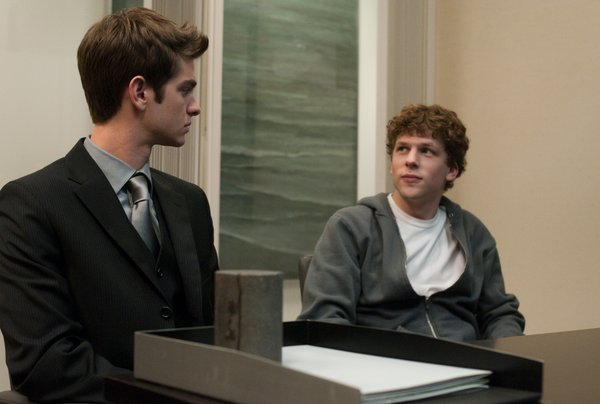 Friends no more... Andrew Garfield and Jesse Eisenberg in &quot;The Social Network.&quot;