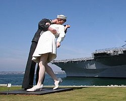 "The 25 foot sculpture on the San Diego bayfront called ""Unconditional Surrender.""  It is based on the famous photograph by Alfred Eisenstaedt featuring a soldier kissing a nurse on V-J Day, Aug. 14, 1945."
