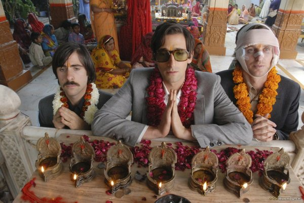 "Jason Schwartzman, Adrien Brody, and Owen Wilson are brothers in ""The Darjeeling Limited."""