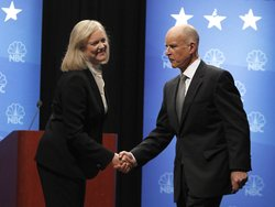 Republican gubernatorial candidate and former eBay CEO Meg Whitman (L) and Democratic gubernatorial candidate and California State Attorney General Jerry Brown shake hands at the conclusion of a debate October 12, 2010 at Dominican University of California in San Rafael, California. 