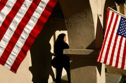 A voter goes to the polls in the predominantly Latino neighborhood of Boyle Heights on February 5, 2008 in Los Angeles, California.