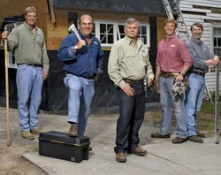 THIS OLD HOUSE crew from left to right: landscape contractor Roger Cook, plumbing and heating expert Richard Trethewey, general contractor Tom Silva, host Kevin OConnor and master carpenter Norm Abram.