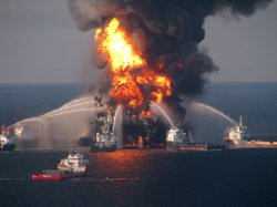 The Deepwater Horizon offshore rig days after the explosion that killed 11 and spilled millions of gallons of oil into the Gulf of Mexico.