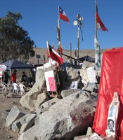Families&#39; flags, San Jos Mine, Copiapo, Chile. 