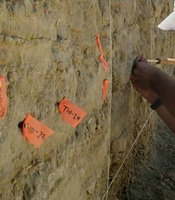 UC Irvine researchers labels a trench near the Carrizo section of the San Andreas fault.