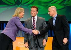 California Gov. Arnold Schwarzenegger (C) joins California Republican gubernatorial candidate and former eBay CEO Meg Whitman (L) and California Attorney General and Democratic gubernatorial candidate Jerry Brown during a discussion moderated by 'Today' show host Matt Lauer during the Women's Conference 2010 on October 26, 2010 at the Long Beach Convention Center in Long Beach, California.