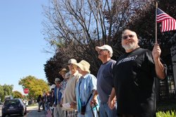 Senior formed a human chain around the Normal Park Senior Center in Chula Vista to show their displeasure with its possible closure, October 28, 2010. 