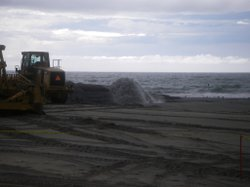 Army Corps of Engineers dredge and fill project at Mission Beach, just north of Belmont Park.