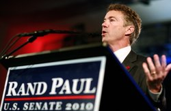 Rand Paul (R), the Republican candidate for the Kentucky U.S. Senate seat, thanks supporters during an election night party on November 2, 2010 in Bowling Green, Kentucky. Paul defeated Democratic candidate Jack Conway to win a U.S. Senate seat.