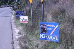 Some campaign signs along a public right of way in San Diego.