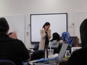 Professor Dawn Griffin of Alliant University teaches her class on criminal psychology.
