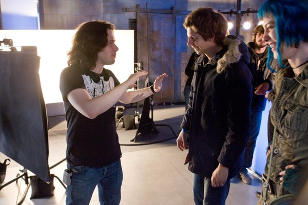 "Edgar Wright directing Michael Cera in ""Scott Pilgrim Vs. the World."""