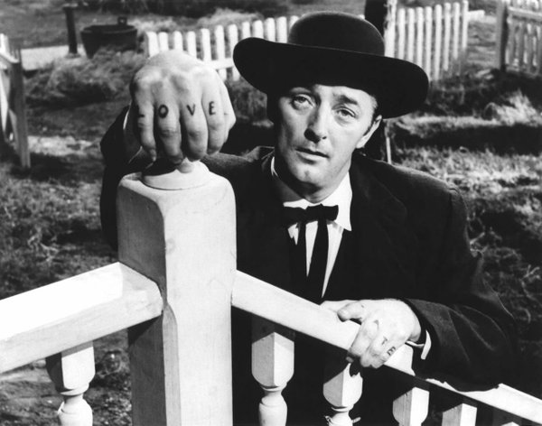 "Robert Mitchum is so good at being bad in ""The Night of the Hunter."""