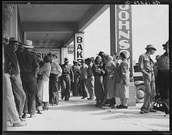 People waiting in line for relief checks in Calipatria, Calif. in March 1937. The hardships people endured during the Great Depression shaped their attitudes about money for the rest of their lives. Will we be changed permanently by the current downturn?
