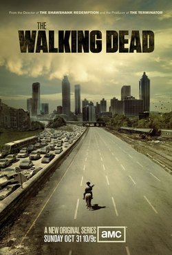 "The poster for the popular AMC series ""The Walking Dead."" The zombie drama is based on a comic book of the same name."