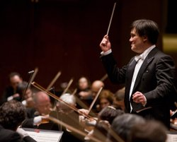 Alan Gilbert conducting the New York Philharmonic at Lincoln Center's Avery Fisher Hall in New York City.