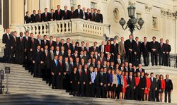 Newly elected freshman members of the upcoming 112th Congress pose for a class photo on the steps of the U.S. Capitol on November 19, 2010 in Washington, DC. . This week the new members have been undergoing orientation before taking office in January.