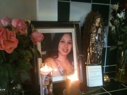 Shrine for Diana Gonzalez in her family's home in National City, in December, 2010.