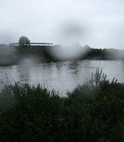 The swollen San Diego River. 