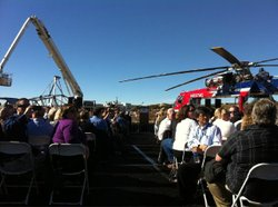 Guests at the Sunrise Powerlink groundbreaking ceremony on December 9, 2010, wait for Governor Arnold Schwarzenegger to arrive in Boulevard, CA.