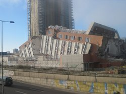 Damaged apartment block in Concepcion, Chile, 2010