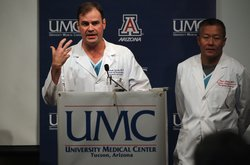 Dr. Michael Lemole, chief neurosurgeon at University Medical Center, speaks about the improved condition of the shooting victims on January 10, 2011 in Tuscon, Arizona. U.S. Rep. Gabrielle Giffords (D-AZ), who is in a medically-induced coma at the hospital, remains in critical condition but surgeons are optimistic about her prospects of recovery.