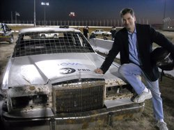 David Pogue with the NOVA car at a demolition derby