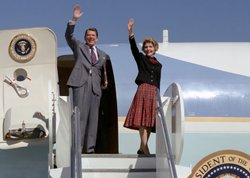 President Reagan and Nancy Reagan wave from Air Force One, February 19, 1981.