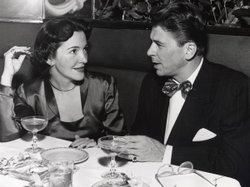 Ronald Reagan and Nancy Reagan dating at an unknown restaurant, 1949.