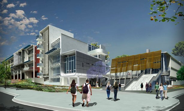 Rendering of state-of-the-art facilities that are on track for LEED Gold green building certification at San Diego City College.