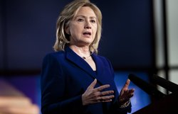 U.S. Secretary of State Hillary Rodham Clinton speaks as she gives an address on internet freedoms at George Washington University&#39;s Jack Morton Auditorium February 15, 2011 in Washington, DC.