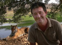 Irish cameraman Colin Stafford-Johnson and a tiger in Ranthambhore National Park.
