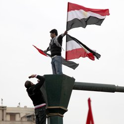 Protesters filled Tahrir Square in Cairo demanding an end to the 30-year rule of president Hosni Mubarak.