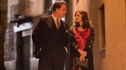 "Matthew MacFadyen as Logan Mountstuart and Hayley Atwell as Freya Deverell in ""Any Human Heart."""