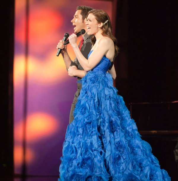 Silly best song performances included Mandy Moore in a dress my friend described as a blue Christmas tree.
