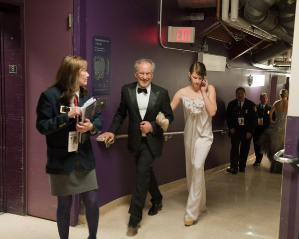 Presenter Steven Spielberg backstage at the Oscars.