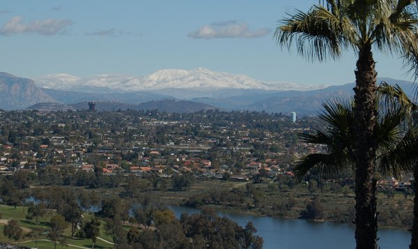 Snow covered mountains are seen from a Del Cerro neighborhood in San Diego, California on Sunday, February 27, 2011