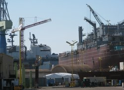 The NASSCO shipyard on March 3, 2011.