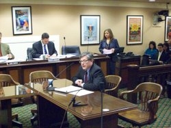 Little Hoover Commission executive director Stuart Drown testifies about the commission's recent pensions report at a joint Senate-Assembly committee Wednesday.