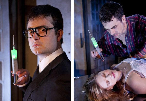 "Graham Skipper as Herbert West, and Chris L. McKenna as Dan and Rachel Avery as Megan in ""Re-Animator: The Musical."""