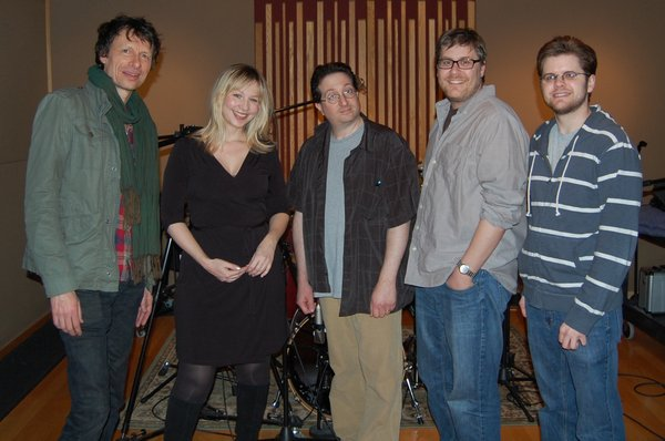 "Animator Mike Salva (center) with the talented folks in the recording studio for ""Pound Dogs:"" Steve Taylor, Samantha Newark, and the ""dogs"" Ryan Williams and Sean Parrott."