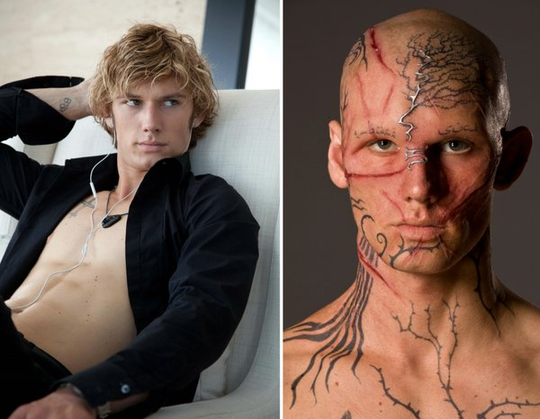 "Alex Pettyfer, before and after, in ""Beastly."""